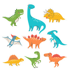 Nine colorful cute dinosaurs vector