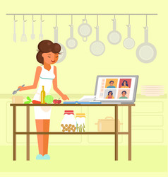 Online cooking masterclass flat style vector