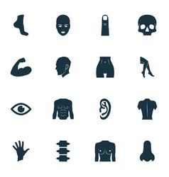 Part icons set with leg foot gesture and other vector