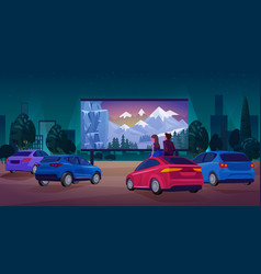 people in car cinema concept vector image