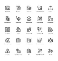 Project management line icons set 21 vector