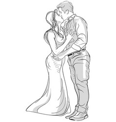 romantic kissing couple drawing vector image
