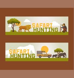 safari hunting set banners vector image