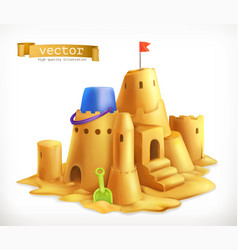 Sand play sandcastle 3d icon vector