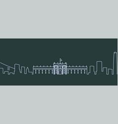 Santiago de chile single line skyline vector