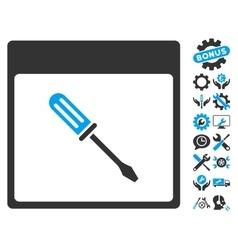 Screwdriver Calendar Page Icon With Bonus vector image vector image