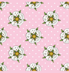 seamless pattern with white flowers and hearts vector image