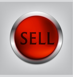 sell red button realistic vector image