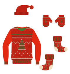 set christmas warm knit clothes vector image