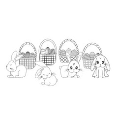 Set cute rabbits with baskets and eggs easter vector