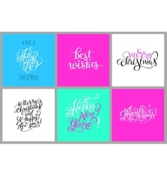 set of colorful hand lettering christmas phrase vector image