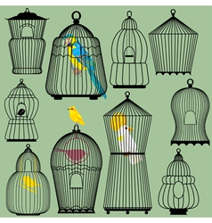 Set of decorative bird cage Silhouettes and birds vector image