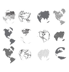 Set of design elements-dotted globes vector image