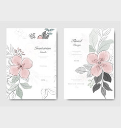 set pink flower with black line card vector image