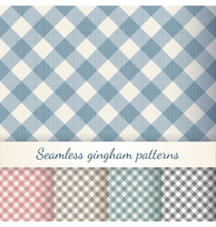 Set seamless checkered gingham patterns vector