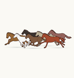 seven horses running cartoon graphic vector image
