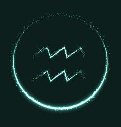 Shiny astrological symbol of aquarius vector