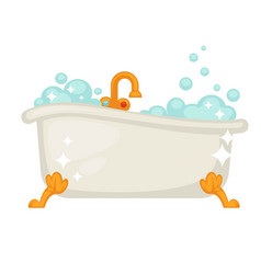 Shiny ceramic bath on golden legs full of bubbles vector