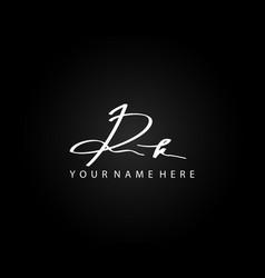 signature logo r and k rk initial letter elegant vector image