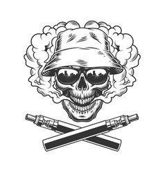 skull wearing panama hat and sunglasses vector image