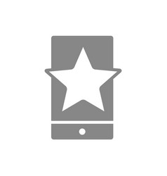 Star with phone feedback gray icon mobile app vector