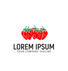 strawberry logo design concept template vector image