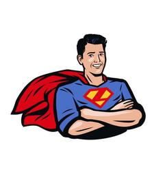 Strong superhero pop art retro comic style vector