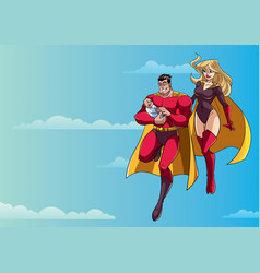 super dad mom and baby in sky vector image