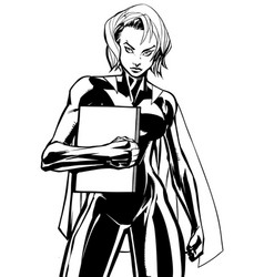 superheroine holding book no mask line art vector image