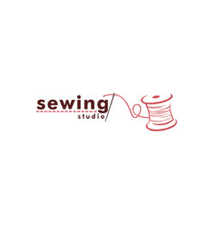 Tailor sewing vintage logo needle and yarn vector