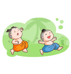 Thai kids tease each other in the garden vector