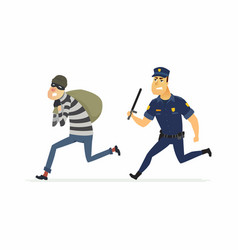 Thief and policeman - cartoon people characters vector