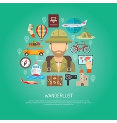 Travel Flat Color Concept vector image