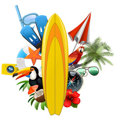 tropical concept with surfboard vector image