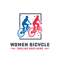 Two female cyclists logo vector