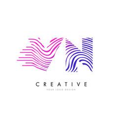 vn v n zebra lines letter logo design with vector image