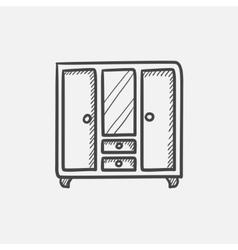 Wardrobe with mirror sketch icon vector image