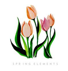 Watercolor spring floral collection vector