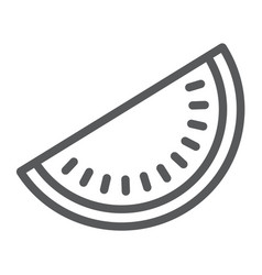 watermelon line icon fruit and vitamin vector image