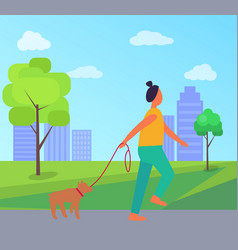 Woman with dog in park vector