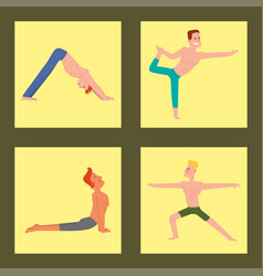 Yoga positions mans characters class card vector