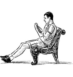 Young man reading on a park bench vector