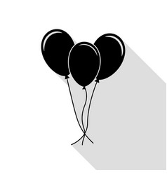 balloons set sign black icon with flat style vector image vector image