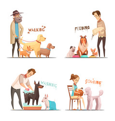 dog concept icons set vector image