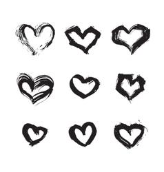 Hand drawn ink heart symbol set Abstract vector image vector image
