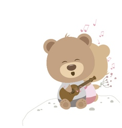 Love concept of couple teddy bear doll sing a song vector image