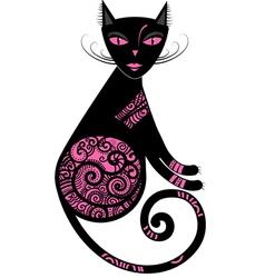 Pink cat vector image vector image