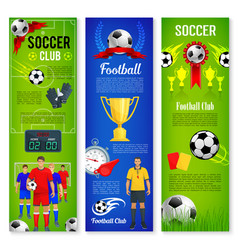soccer or football sport game banner template set vector image