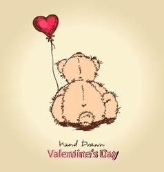 teddy bear with red heart balloon vector image vector image