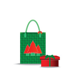 christmas shopping bag with gifts isolated on vector image vector image